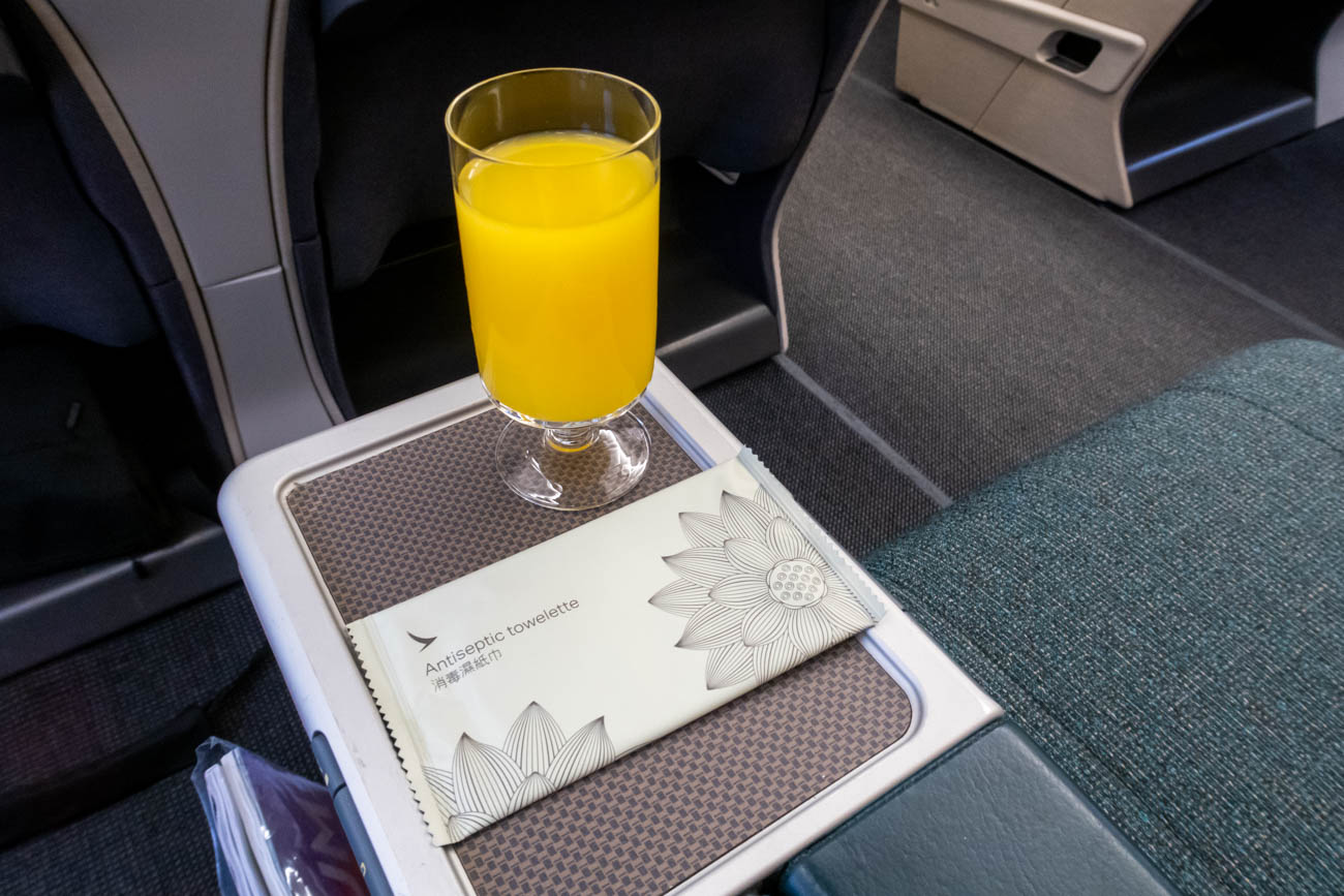 Cathay Dragon Business Class Welcome Drink