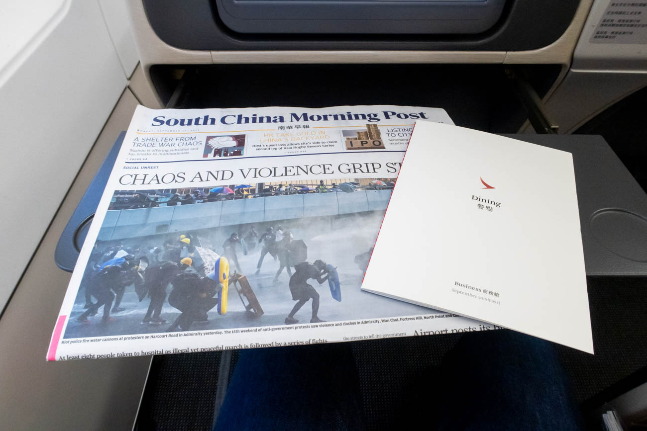 Cathay Dragon Business Class Newspaper and Menu