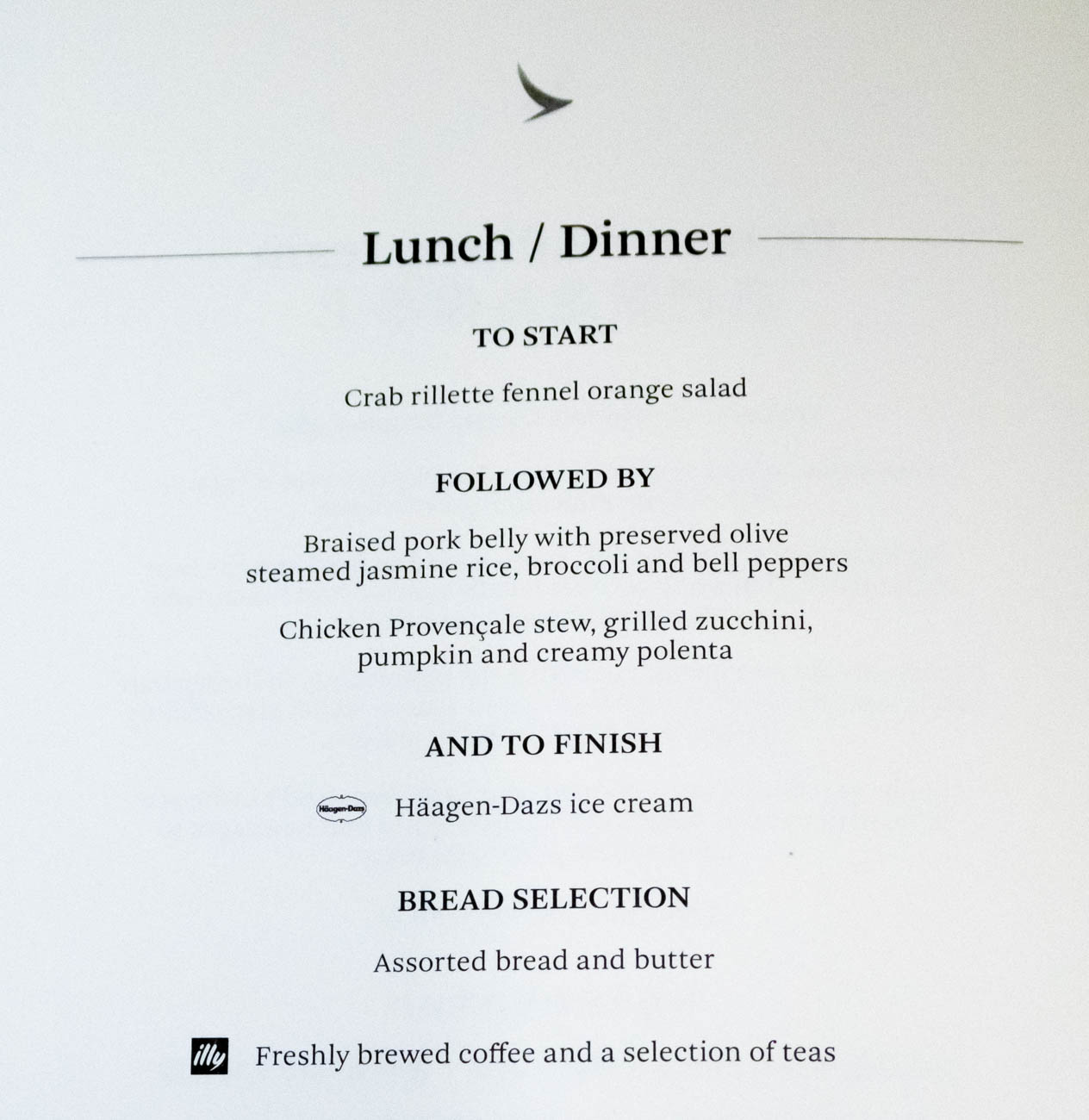 Cathay Dragon Business Class Dinner Menu