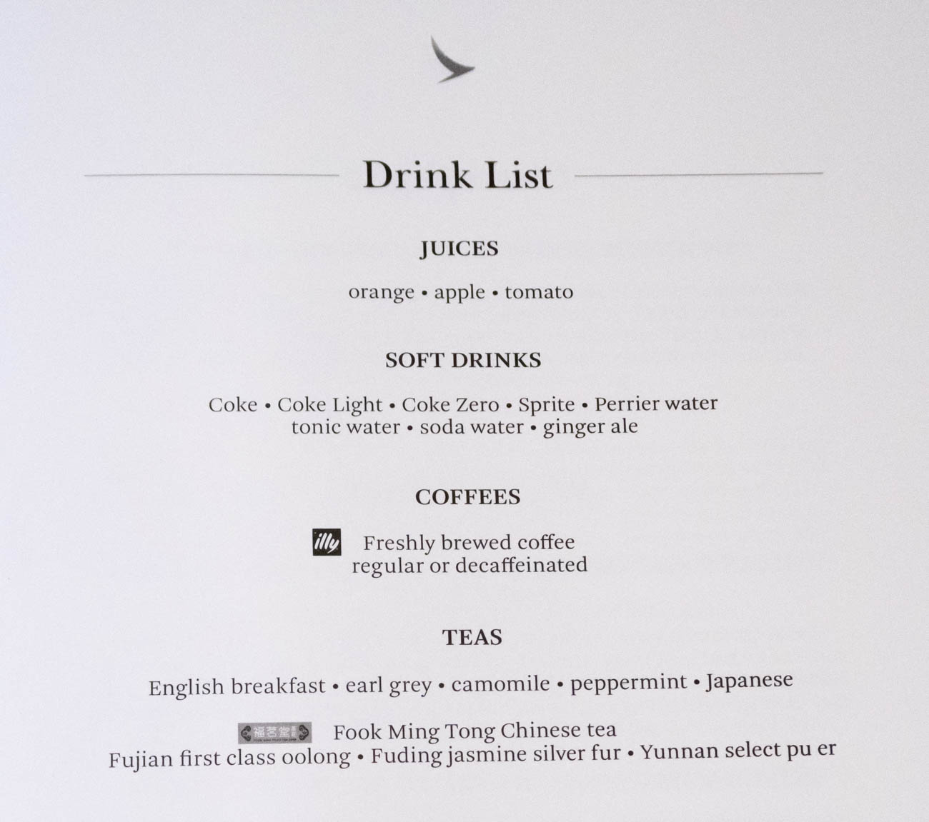 Cathay Dragon Business Class Drinks