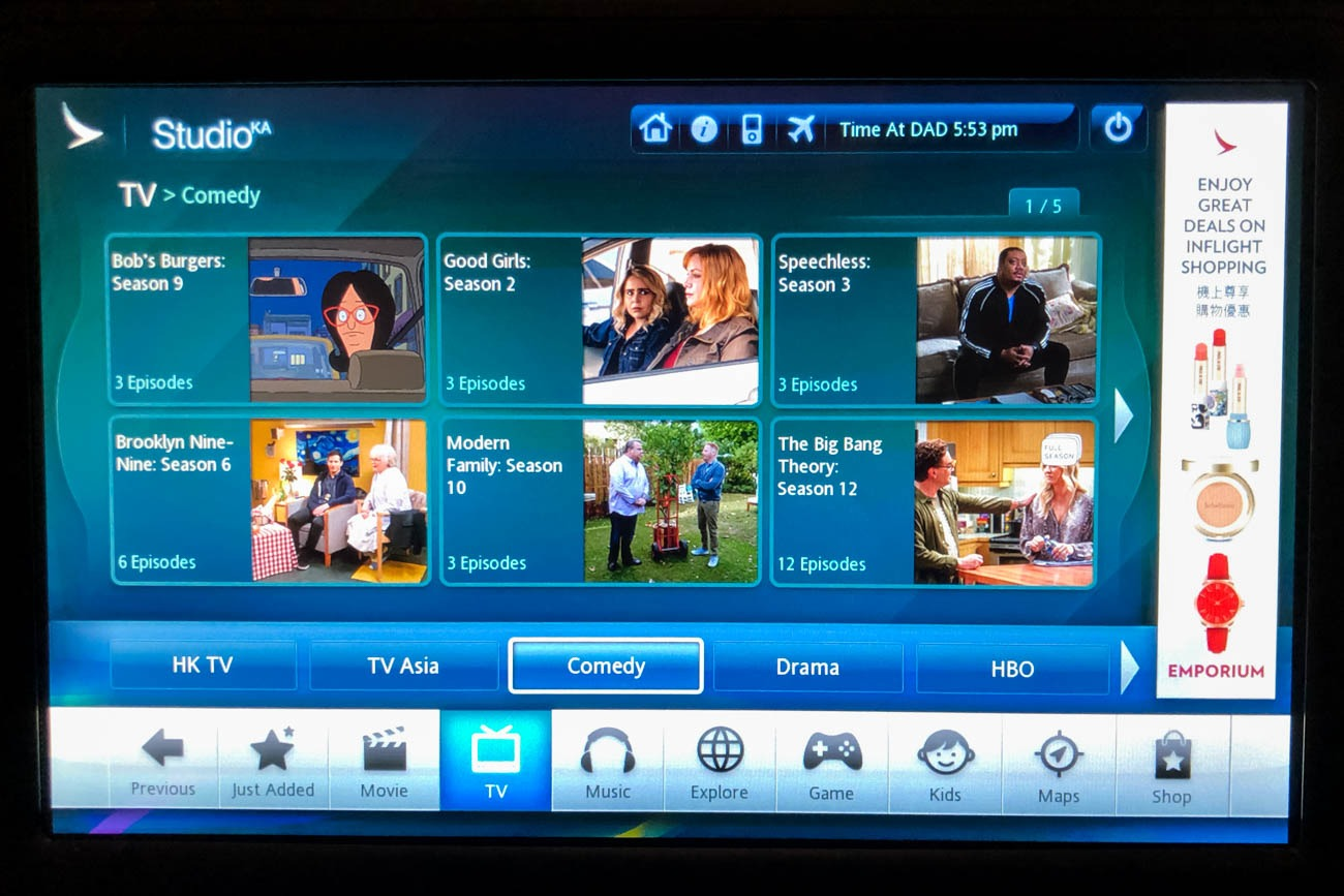 Cathay Dragon In-Flight Entertainment TV Shows