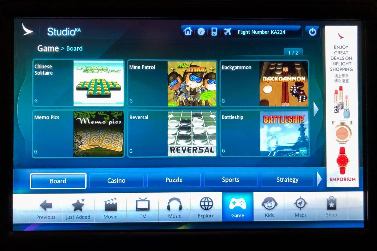 Cathay Dragon In-Flight Entertainment Games