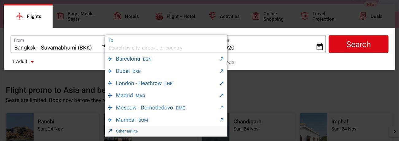 Non-AirAsia Destinations on AirAsia.com