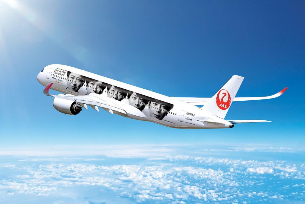 """JAL Unveils """"20th ARASHI THANKS JET,"""" a New Special Livery on Worn by an A350"""