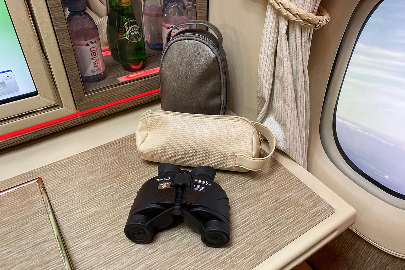 Emirates First Class Binoculars and Amenity Kits