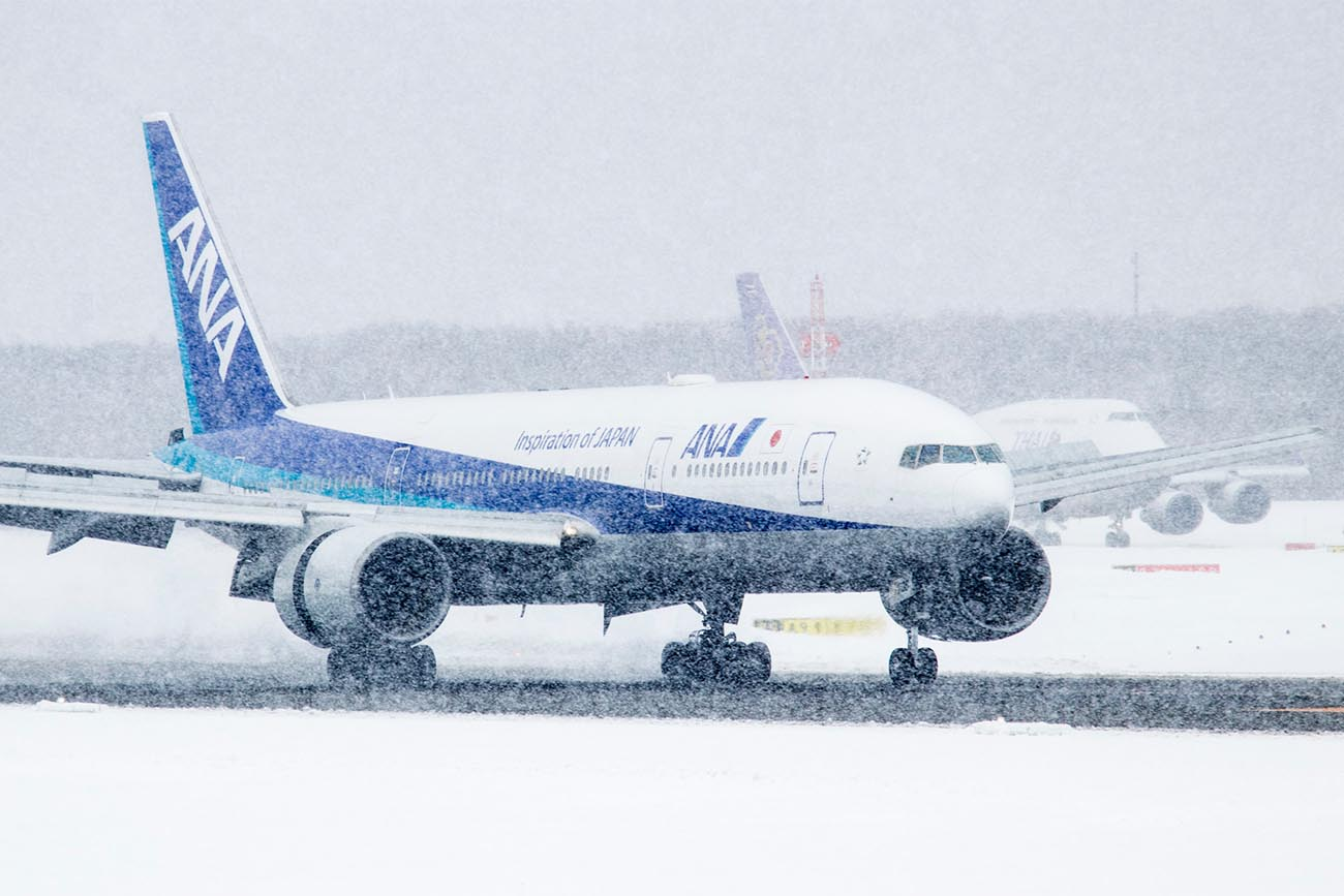 Jet Aircraft in Snowy Conditions
