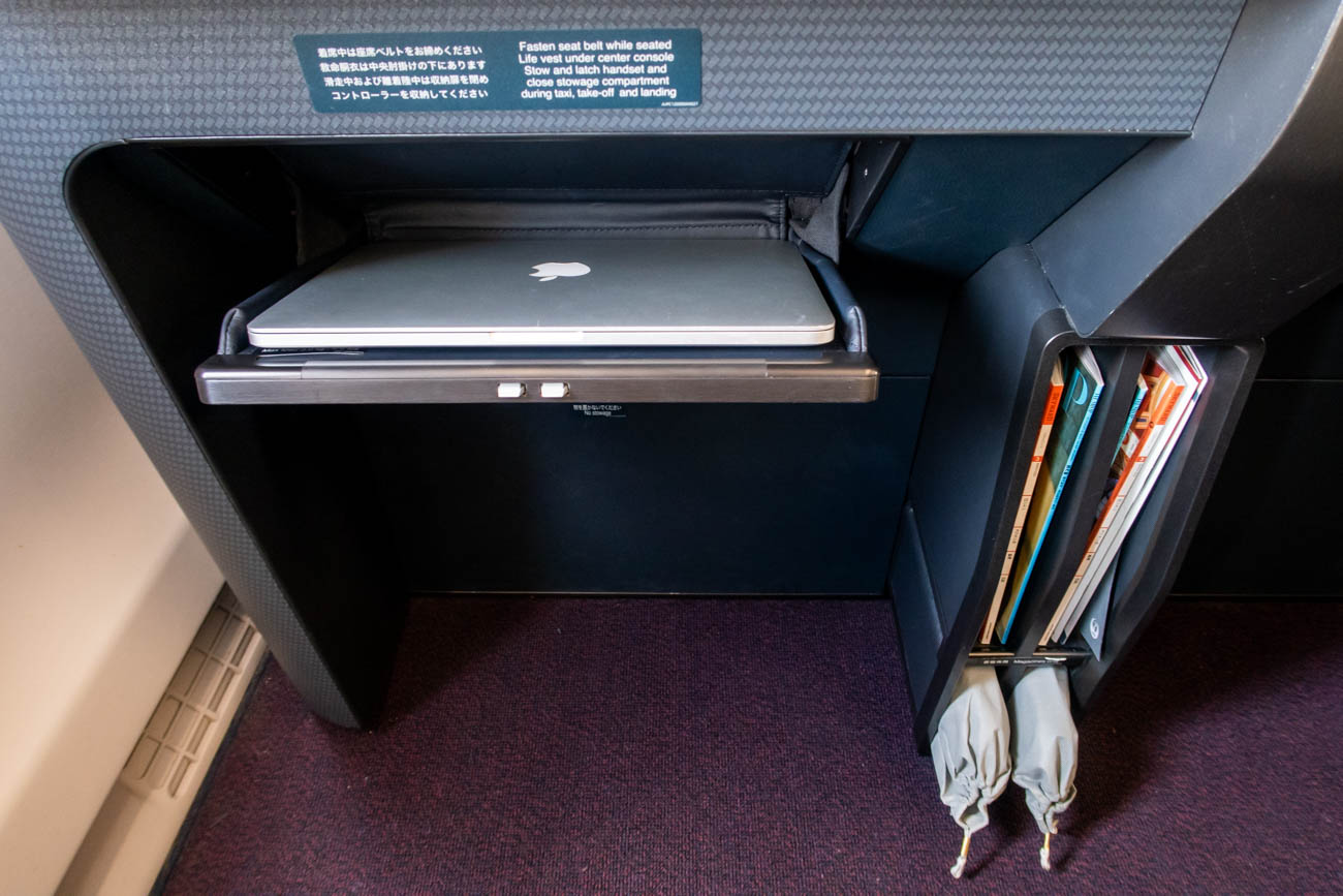 JAL A350 First Class Seat Laptop Storage