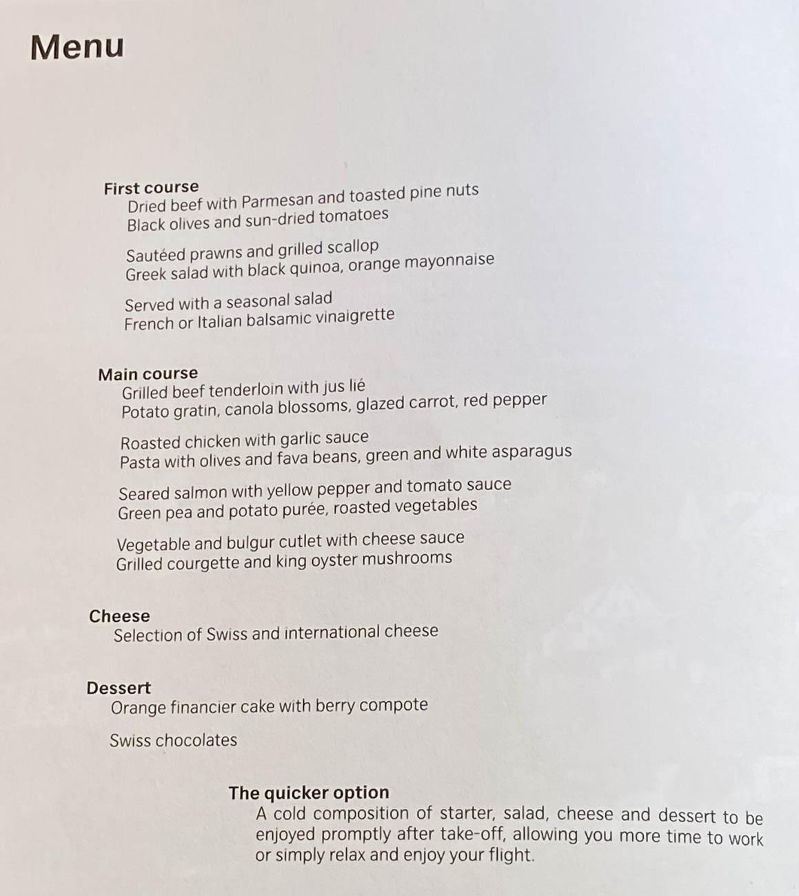 Swiss Business Class Lunch Menu