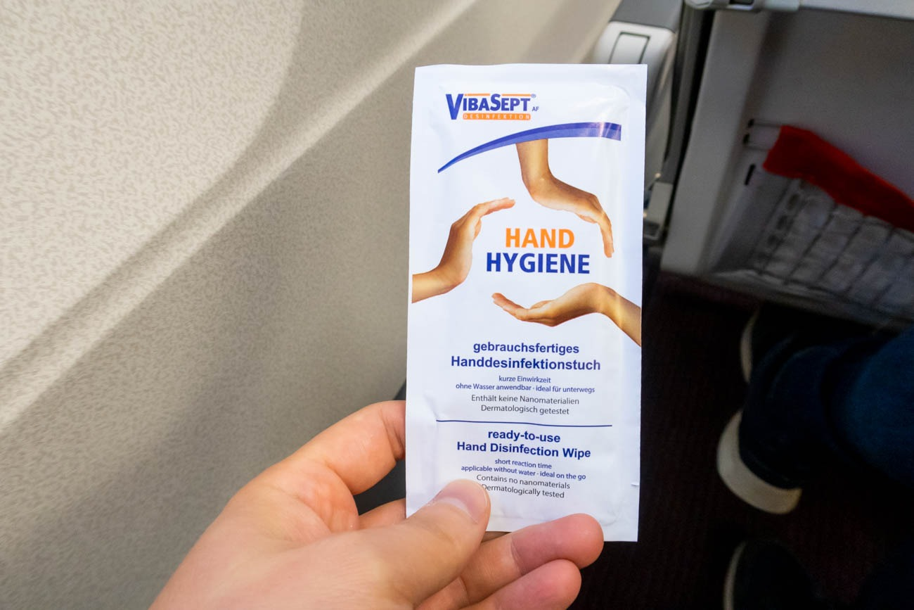 Alcohol Wipe on Austrian Airlines