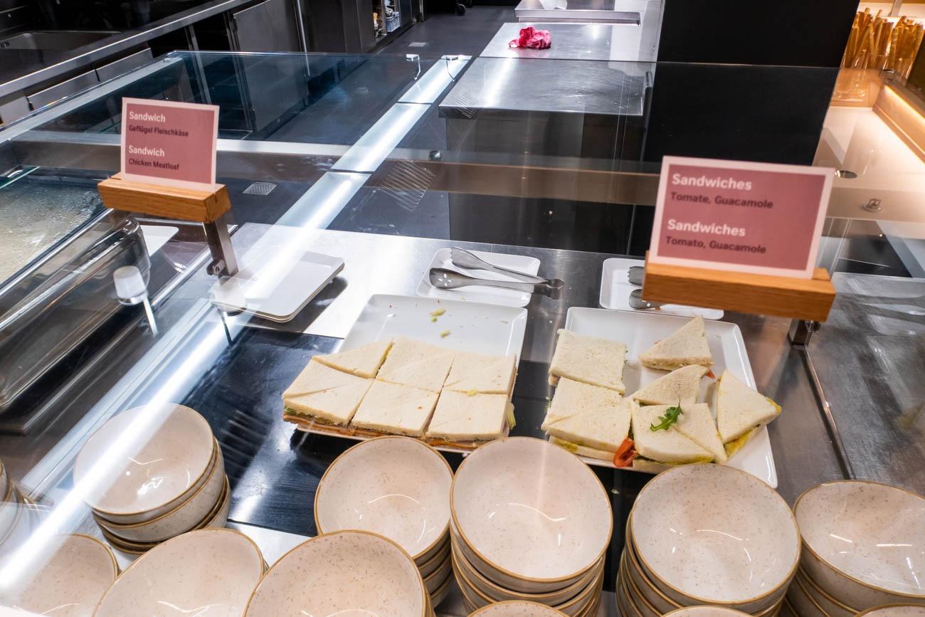 Swiss Senator Lounge at Zurich Airport Sandwiches